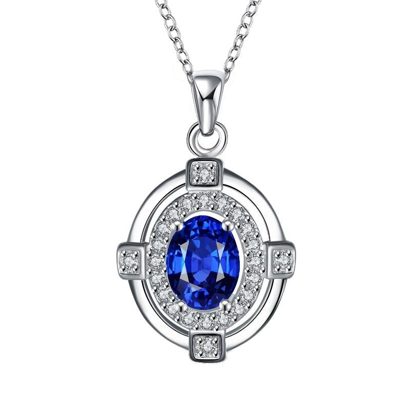 Classic Blue Cubic Zirconia Sterling Silver Necklace - Gifts Are Blue - 1