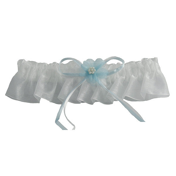 Simple Elegance Wedding Garters, Ivory and Blue - Gifts Are Blue