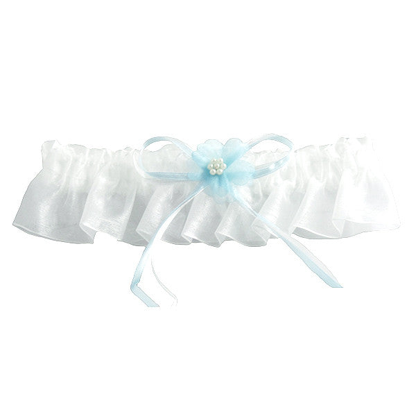 Simple Elegance Wedding Garters, White and Blue - Gifts Are Blue
