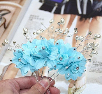 Fancy Sky Blue Hair Pins / Hair Sticks for Wedding - Gifts Are Blue - 2