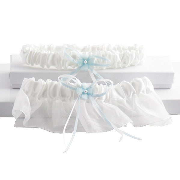 Sleek 2 Pc Bridal Garter Set, White and Blue - Gifts Are Blue