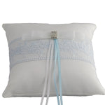 "Handmade Ring Bearer Pillow for Wedding with Blue Embroidery - 6.5"" - Gifts Are Blue - 1"
