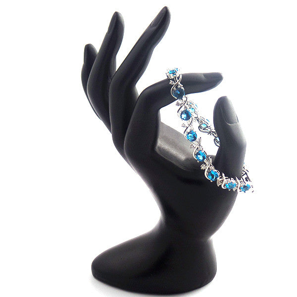 Beautiful Sterling Silver Bracelet with Topaz Blue and White Stones - Gifts Are Blue - 4