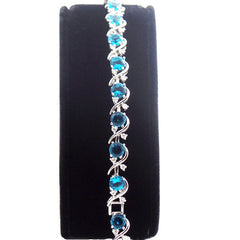 Beautiful Sterling Silver Bracelet with Topaz Blue and White Stones - Gifts Are Blue - 2