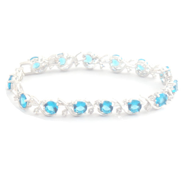 Beautiful Sterling Silver Bracelet with Topaz Blue and White Stones