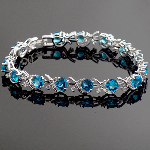 Beautiful Sterling Silver Bracelet with Topaz Blue and White Stones - Gifts Are Blue - 3