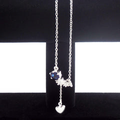 Sterling Silver Drop Heart Necklace with Blue Stone - Gifts Are Blue - 4