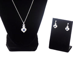 Elegant Sterling Silver Heart Shaped Jewelry Set With Necklace and Earrings - Gifts Are Blue - 4