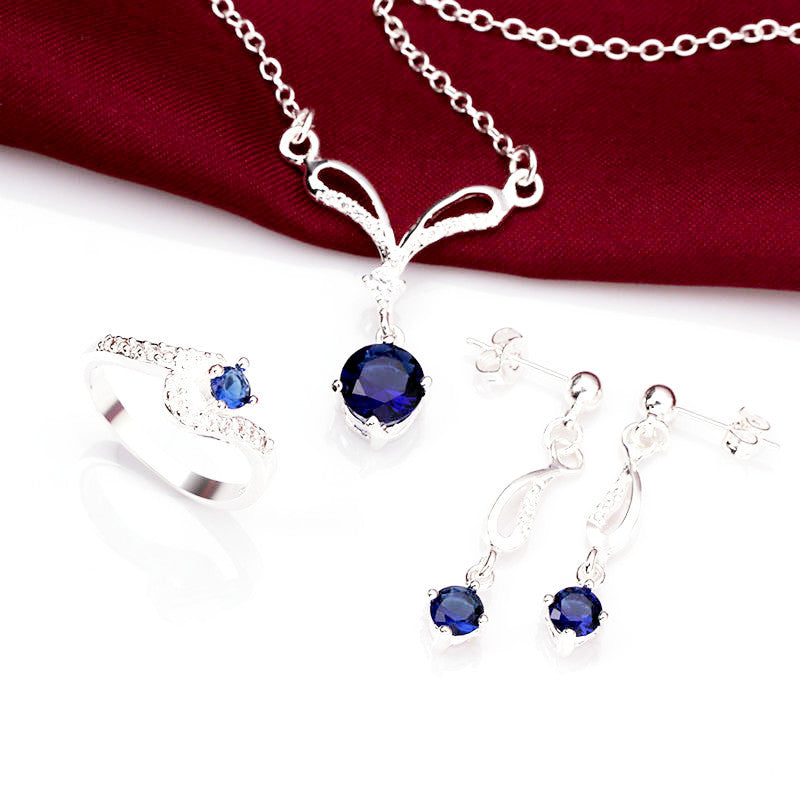 925 Sterling Silver Blue Sapphire Jewelry Set-Ring, Necklace, Earrings - Gifts Are Blue - 2