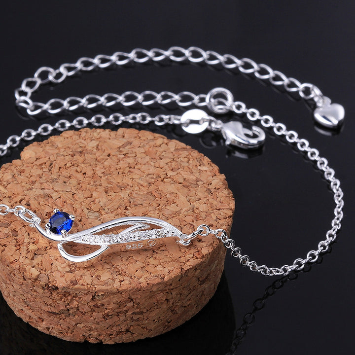 Stylish 925 Sterling Silver Blue Rhinestone Anklet Chain - Gifts Are Blue - 2