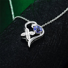 Stylish Sterling Silver Necklace with Blue Cubic Zirconia - Gifts Are Blue - 4
