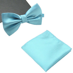 Mens Matching Turquoise Blue Bow Tie and Handkerchief Gift Set - Gifts Are Blue