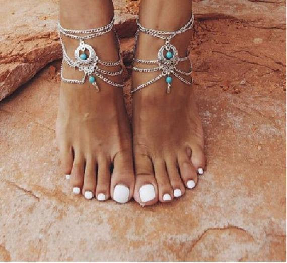 Bohemian Style Beaded Chain Anklet, Barefoot Sandals Set - Gifts Are Blue - 4
