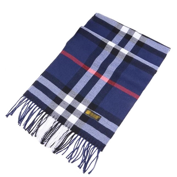 Unisex Warm Cashmere Feel Blue Plaid Scarf for Men and Women