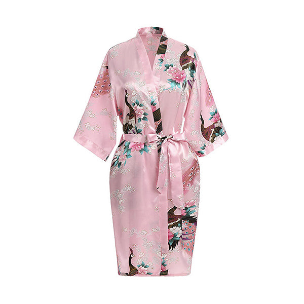 Medium Length Floral Womens Robe, Light Pink