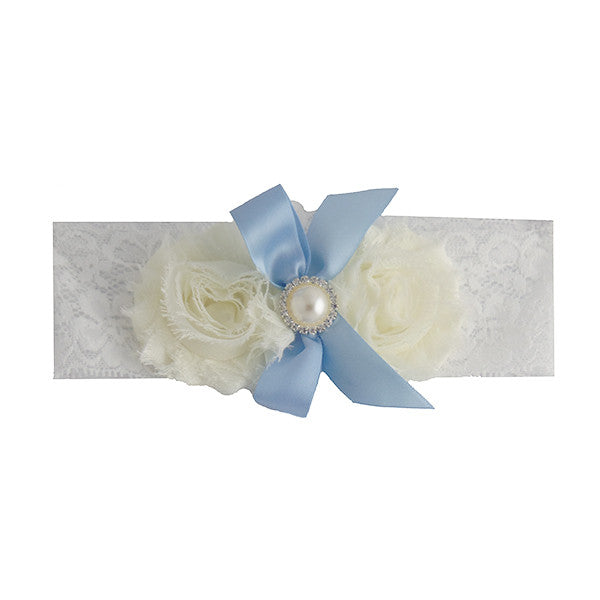 Vintage White and Blue Bride Wedding Garter with Flower and Ribbon - Gifts Are Blue - 1