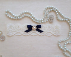 Vintage Wedding Bride Lace Garter with Navy Bow (Plus Size) - Gifts Are Blue - 3