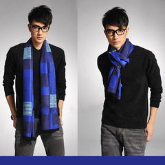 Stylish Mens All Seasons Viscose Cotton Blue Scarf - Gifts Are Blue - 2