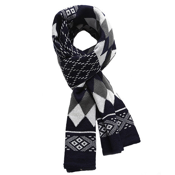Fashionable Mens Warm Winter Cashmere Scarf with Geometric Design