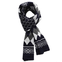 Fashionable Mens Warm Winter Cashmere Scarf with Geometric Design - Gifts Are Blue - 1