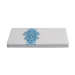 White Satin Wedding Guest Book and Pen Set with a Teal Scroll Design - Gifts Are Blue - 2