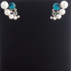 White Round Pearl Stud Earrings with Blue Rhinestone - Gifts Are Blue - 2