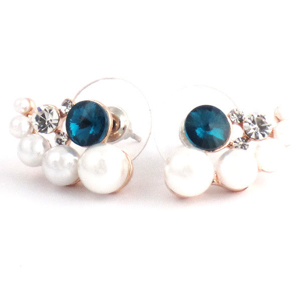 White Round Pearl Stud Earrings with Blue Rhinestone