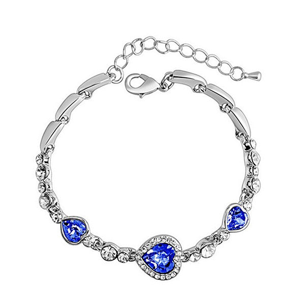 Women's Created Blue Hearts Rhinestone Anklet Jewelry