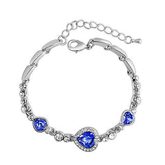 Women's Created Blue Hearts Rhinestone Anklet Jewelry - Gifts Are Blue - 1