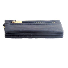 Blue Leather Clutch Wristlet Purse with Double Zipper - Gifts Are Blue - 4