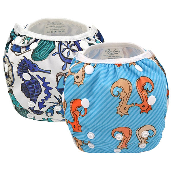 2 Pack Leakproof Reusable Swim Diapers, 0 to 3 years - Gifts Are Blue - 2