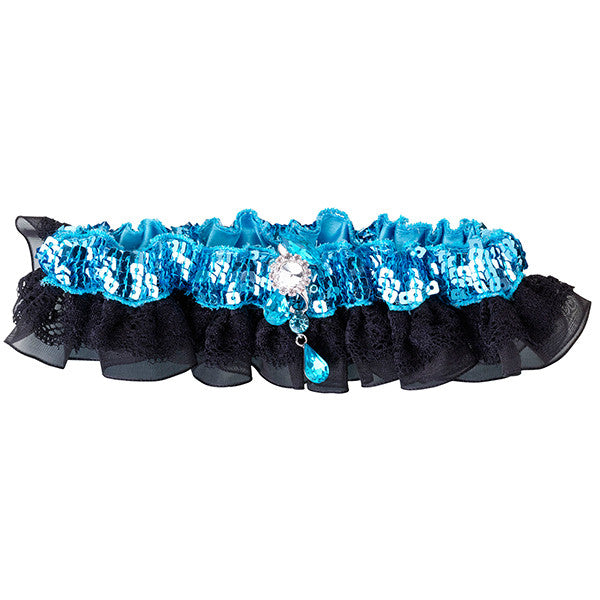 Aqua Blue and Black Satin Garter with Sequins