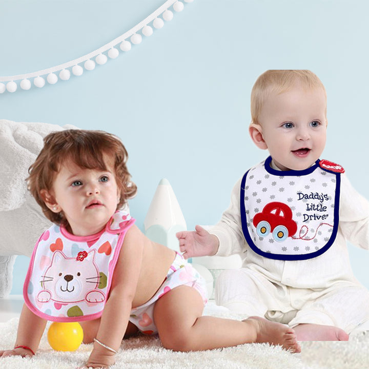 2 Pack of Baby Waterproof Cotton Bibs with Embroidered Designs - Gifts Are Blue - Babies Wearing Waterproof Bibs