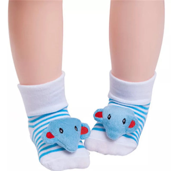 Cute Infant Baby Cotton Socks Shoes, 0 to 6 Months - Gifts Are Blue - Elephant Socks Model