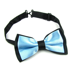 Mens Blue and Black Formal Event Pre-Tied Bow Tie and Pocket Square - Gifts Are Blue - 4