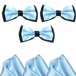 Mens Blue and Black Formal Event Pre-Tied Bow Ties and Pocket Square Sets - Gifts Are Blue - 2