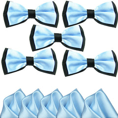 Mens Blue and Black Formal Event Pre-Tied Bow Ties and Pocket Square Sets - Gifts Are Blue - 5