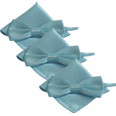 Mens Smooth Satin Feel Formal Pre-Tied Bow Tie and Pocket Square Sets - Gifts Are Blue - 1
