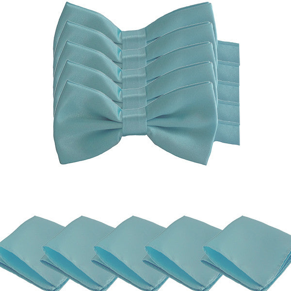 Mens Smooth Satin Feel Formal Pre-Tied Bow Tie and Pocket Square Sets - Gifts Are Blue - 2