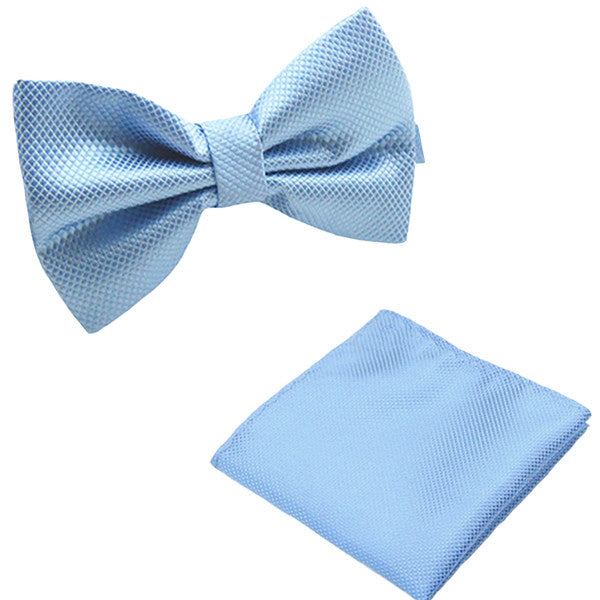 Solid Matching Pre-Tied Bow Tie and Pocket Square Sets for For Formal Events - Gifts Are Blue - 5