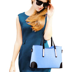 Womens Croc Embossed Blue Handbag Set