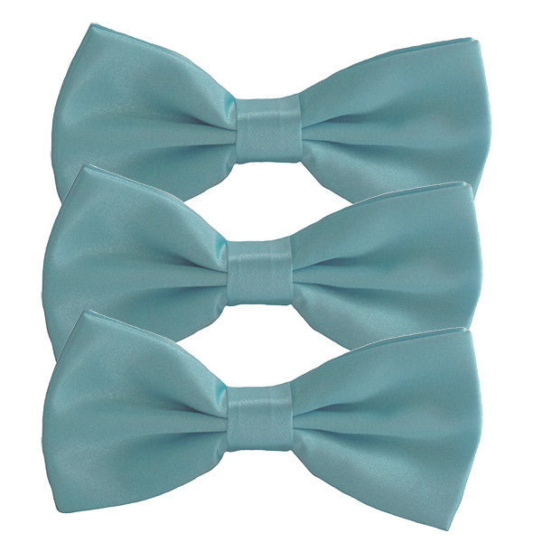Mens Smooth Satin Feel Formal Pre-Tied Bow Tie Sets - Gifts Are Blue - 3