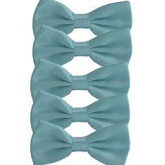 Mens Smooth Satin Feel Formal Pre-Tied Bow Tie Sets - Gifts Are Blue - 6