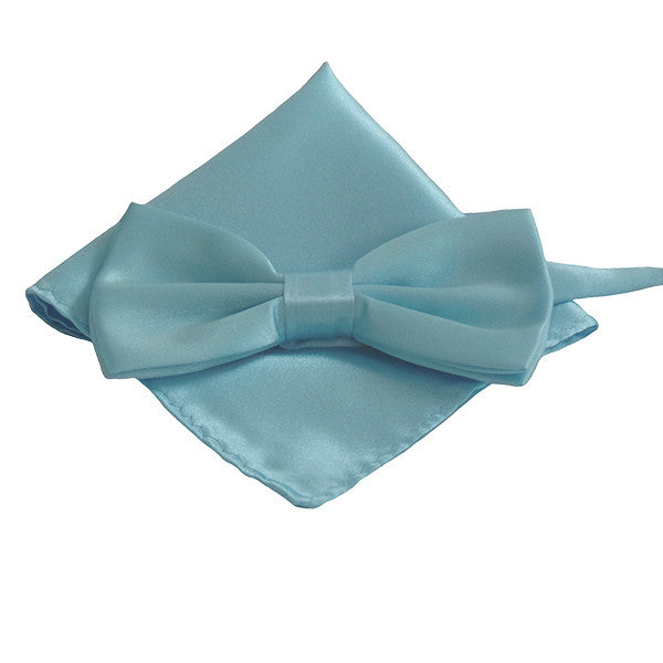 Mens Smooth Satin Feel Formal Pre-Tied Bow Tie and Pocket Square - Gifts Are Blue - 1