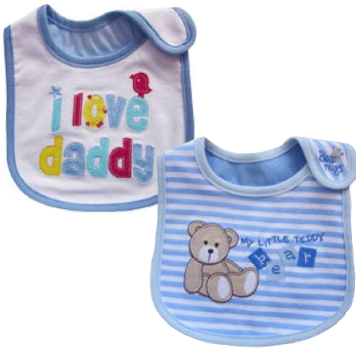 2 Pack of Baby Waterproof Cotton Bibs with Embroidered Designs - Gifts Are Blue - Baby Boy I Love Daddy Sitting Teddy Design