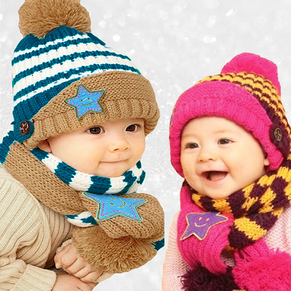 Little Kids Knitted Winter Beanie Hat and Scarf Set, 6 Month Baby to Toddlers, Boy & Girl Babies, all SKUs
