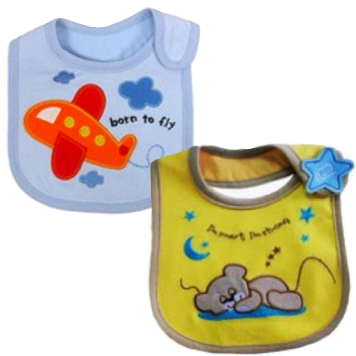 2 Pack of Baby Waterproof Cotton Bibs with Embroidered Designs - Gifts Are Blue - Baby Boy Toy Plane Sleeping Teddy Design