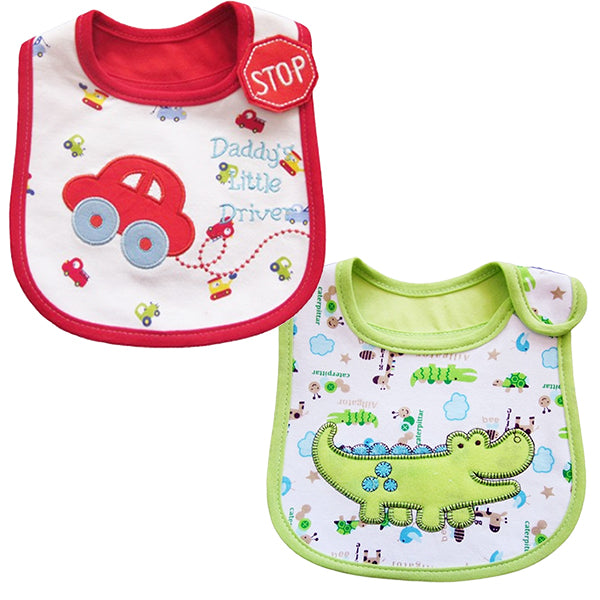 2 Pack of Baby Waterproof Cotton Bibs with Embroidered Designs - Gifts Are Blue - Baby Boy Dino Car Design Bib