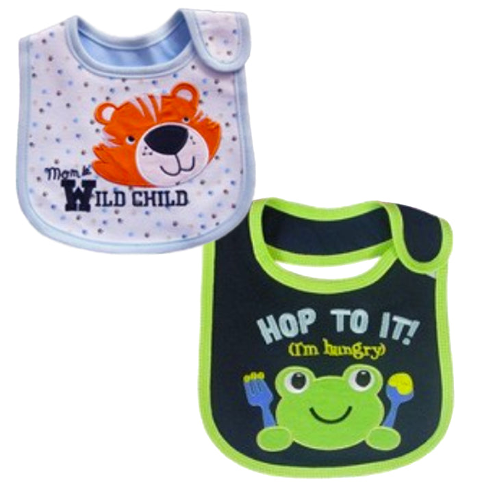 2 Pack of Baby Waterproof Cotton Bibs with Embroidered Designs - Gifts Are Blue - Baby Boy Wild Child Frog Design
