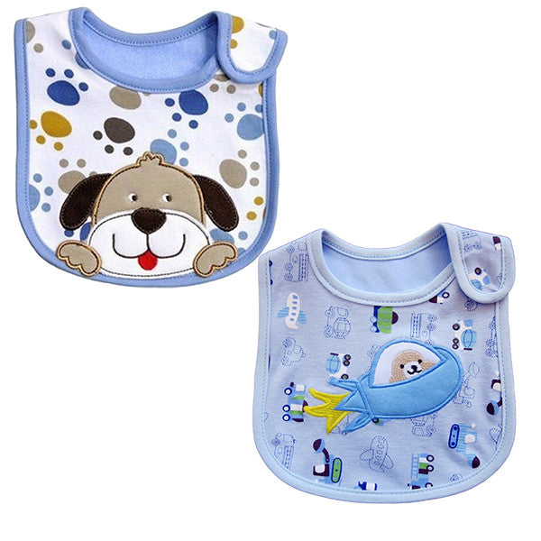 2 Pack of Baby Waterproof Cotton Bibs with Embroidered Designs - Gifts Are Blue - 1